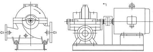 sow型卧式中开蜗壳式双吸离心泵结构